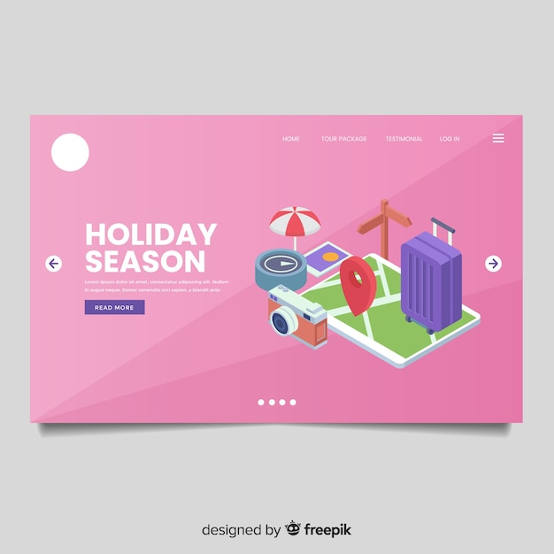 Isometric travel landing page Free Vector