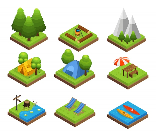 Isometric traveling camping collection Free Vector