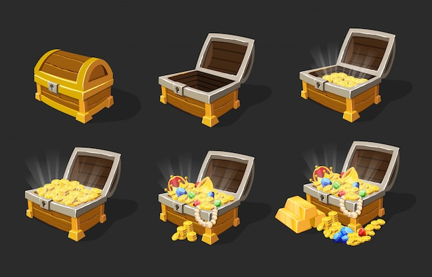 Isometric treasure chests animation set Free Vector