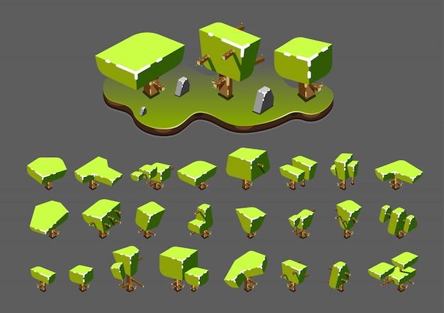 Isometric trees for video games Premium Vector