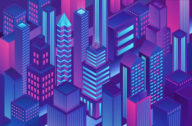 Isometric trendy violet blue gradient color city template illustration of cryptography, online electronic finance and secure banking. Premium Vector