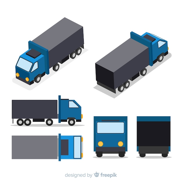 Isometric truck perspectives collection Free Vector