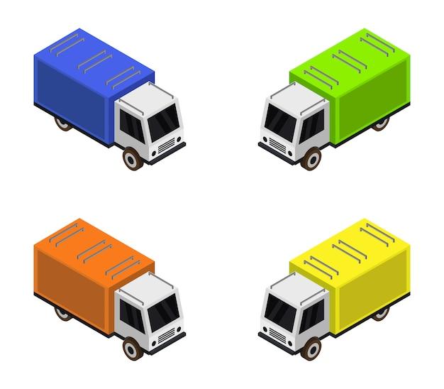 Isometric truck set Free Vector