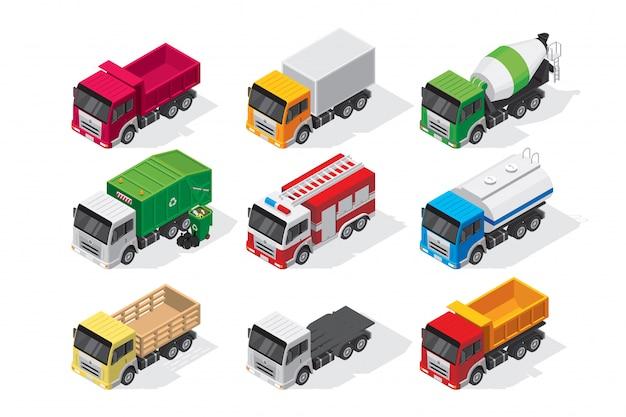 Isometric truck set Premium Vector