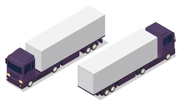 コンテナ付き等尺性トラックトレーラー。白で隔離の貨物配達車両テンプレート Premiumベクター