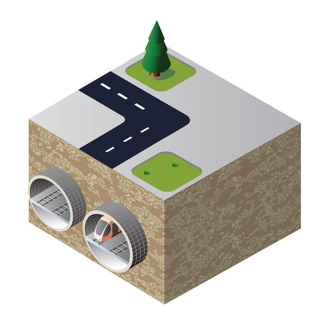 Isometric tunnel Premium Vector