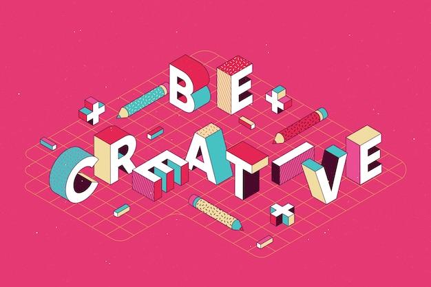 Isometric typographic message Free Vector