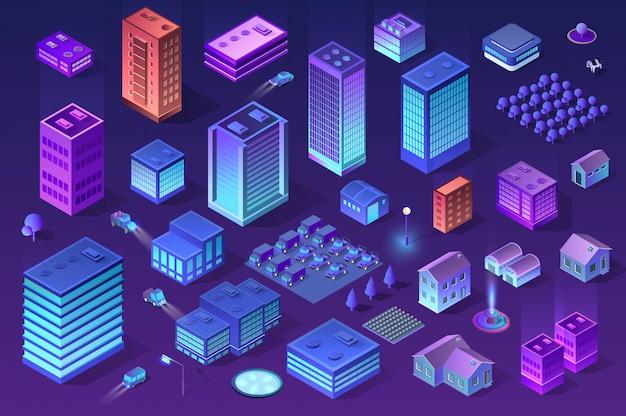Isometric ultraviolet city Premium Vector