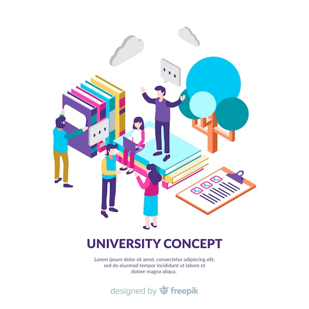 Isometric university background with students Free Vector