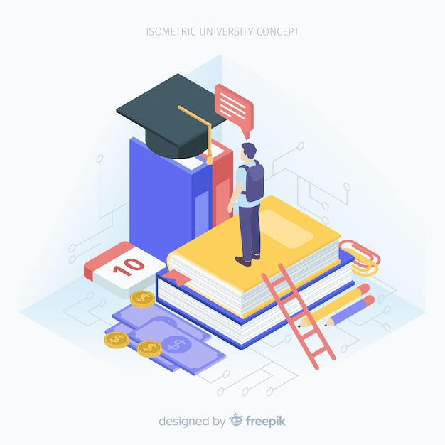 Isometric university background Free Vector