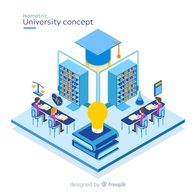 Isometric university concept background Free Vector