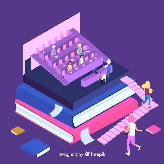 Isometric university concept background Free Vector