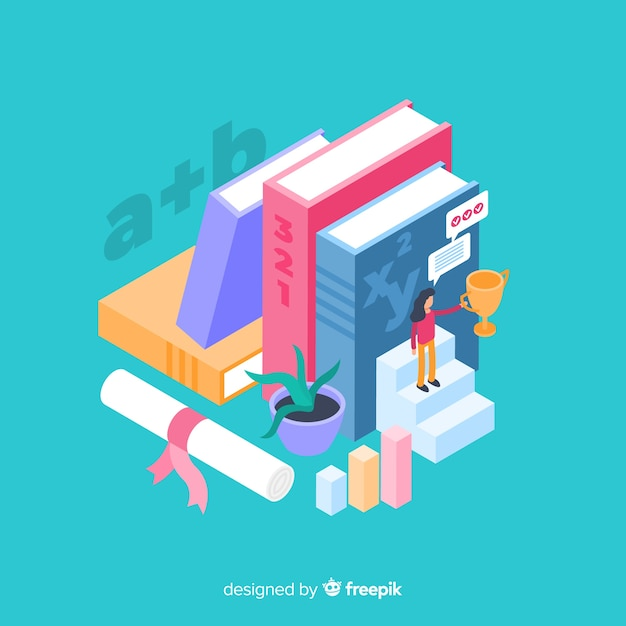 Isometric university concept with education elements Free Vector