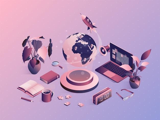Isometric university concept with school elements. online exam, distant education Premium Vector