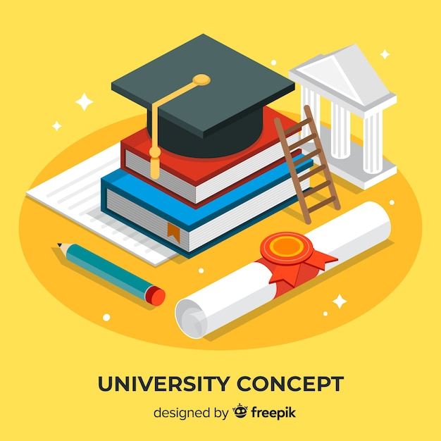 Isometric university concept with school elements Free Vector