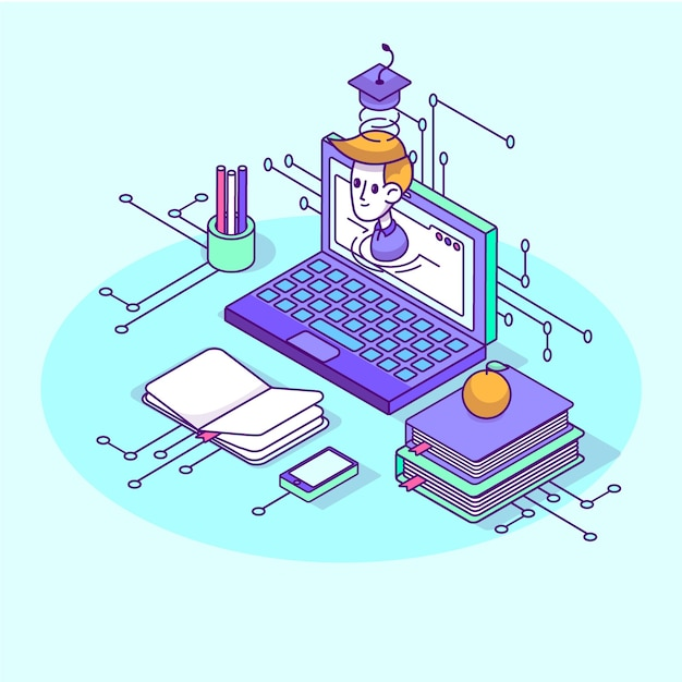 Isometric university concept with school elements Free Vector