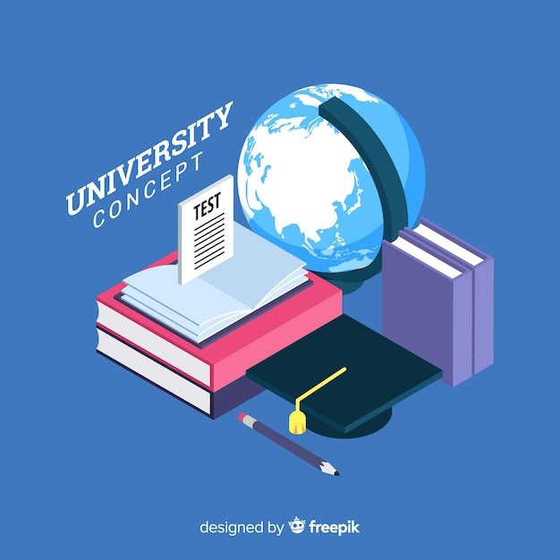 Isometric university concept Free Vector