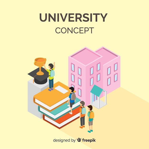 Isometric university concept Free Vector