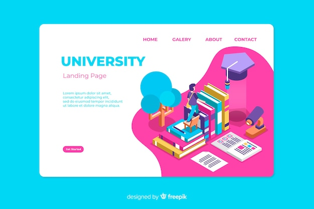 Isometric university landing page template Free Vector