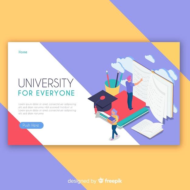 Isometric university landing page Free Vector