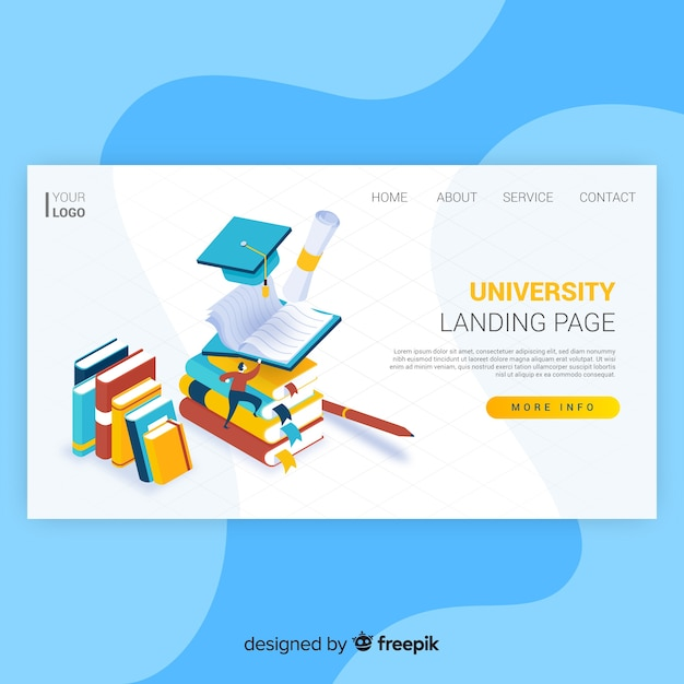 Isometric university landing page Free Vector