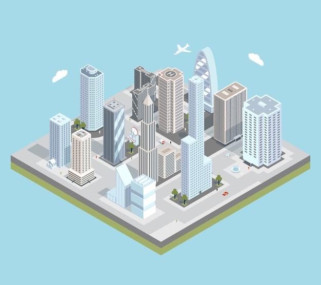 비행기에 건물, 상점 및 도로가있는 아이소 메트릭 도시 도심지도. 무료 벡터