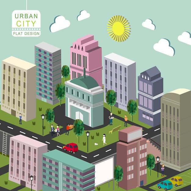 Isometric  of urban city concept Premium Vector