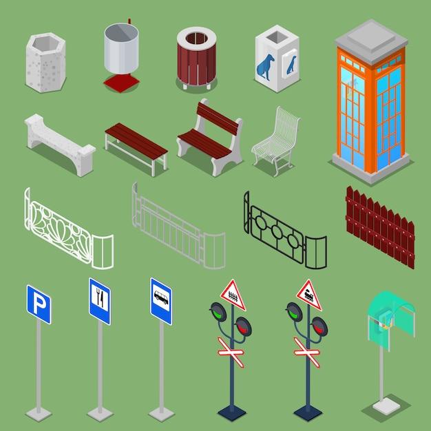 Isometric urban elements Premium Vector