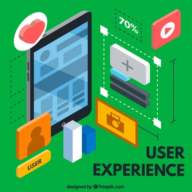 Isometric user experience elements Free Vector