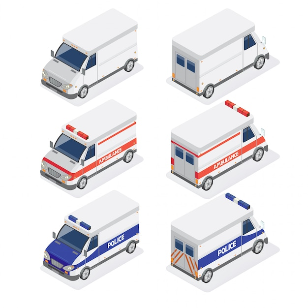 Isometric vans set with ambulance and police car Premium Vector