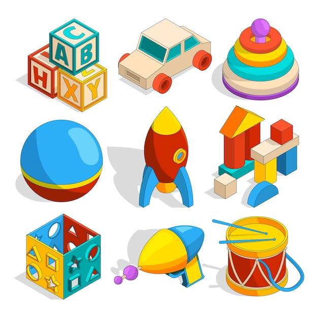 Isometric of various childrens toys Premium Vector