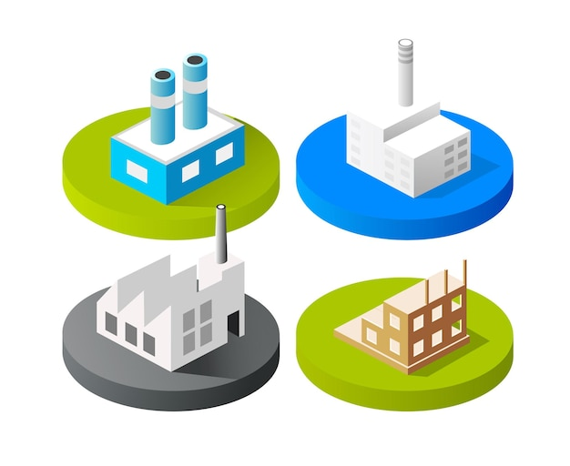 Isometric vector 3d icon city buildings for web concept set which includes house Premium Vector