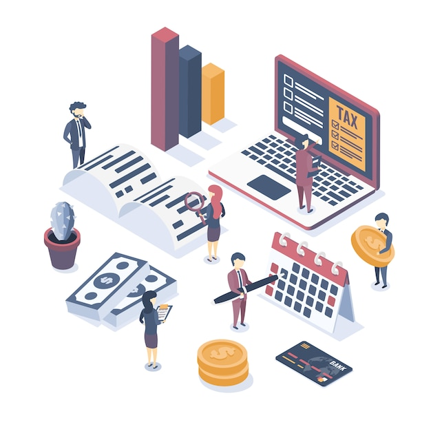 Isometric vector illustration. the concept of business auditing. tax audit. verification of accounting data. financial report. professional audit advice. Premium Vector