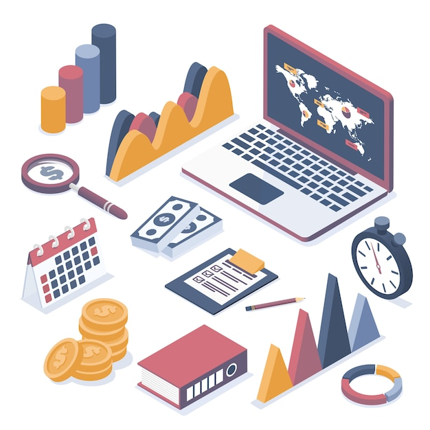 Isometric vector illustration. laptop with elements of infographics.  collection of business objects. Premium Vector