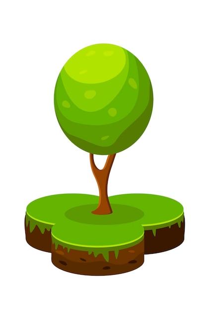 土地と緑の木の等角投影図です。シンプルなスタイルの漫画のインフォグラフィック土壌と木。 Premiumベクター