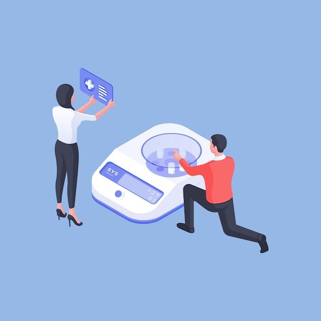 Изометрические векторные иллюстрации мужчин и женщин-ученых, использующих анализирующую машину для исследования медицинских веществ в лаборатории на синем фоне Premium векторы