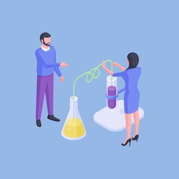 Изометрические векторные иллюстрации мужчины и женщины, исследующих флаконы с разноцветными жидкостями во время проведения эксперимента в лаборатории на синем фоне Premium векторы