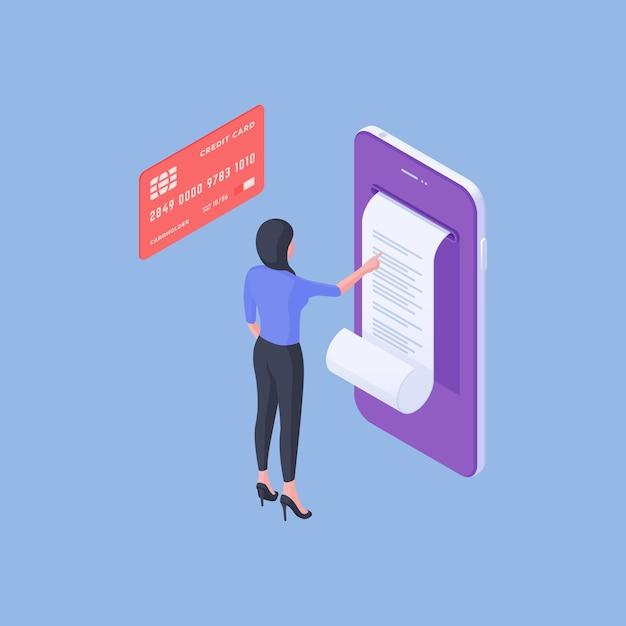 파란색 배경에 돈 거래를 한 후 신용 카드 근처 스마트 폰 화면에 온라인 청구서를 읽고 현대 여성 고객의 아이소 메트릭 벡터 일러스트 레이 션 프리미엄 벡터