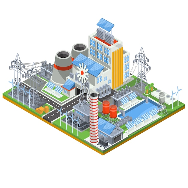 Isometric vector illustration of a thermal thermal power plant running on alternative sources of energy. Free Vector