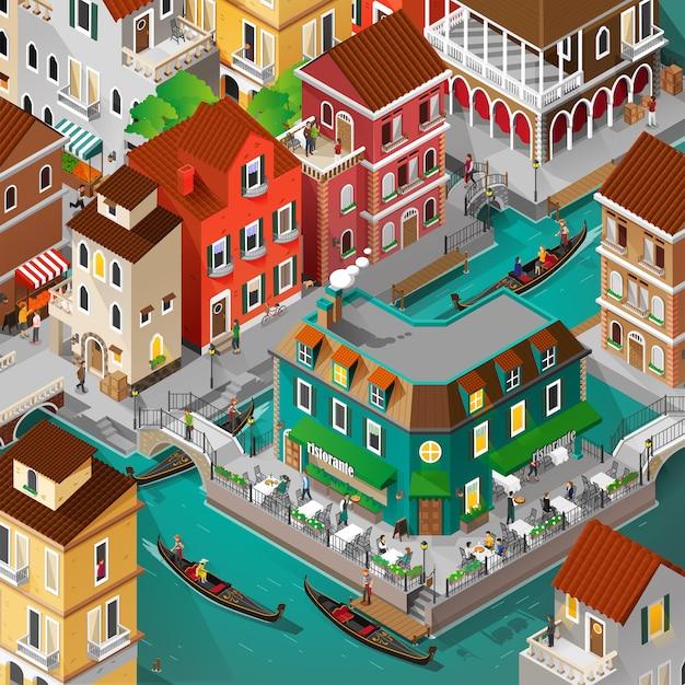 等尺性のヴェネツィアの建物と人々の活動 Premiumベクター