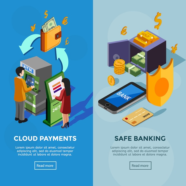 Isometric vertical bank banners Free Vector