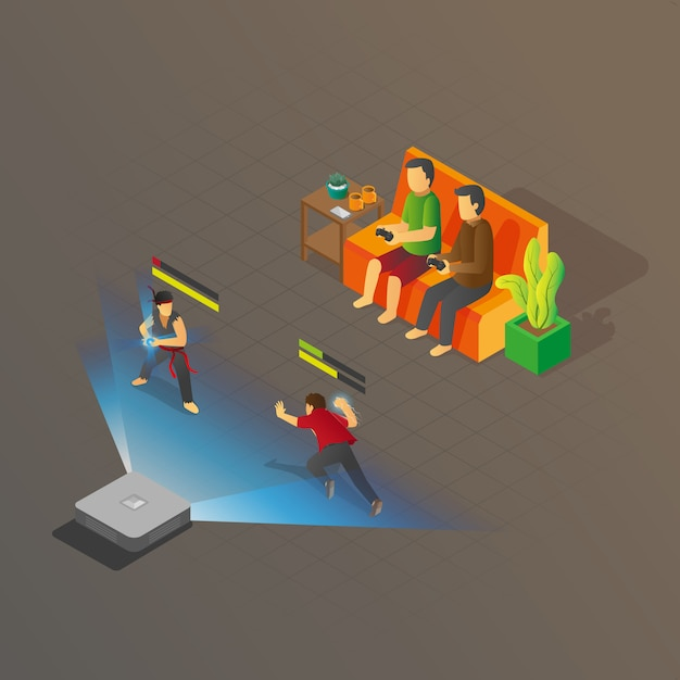 Isometric view of 2 people playing console fighting game Premium Vector