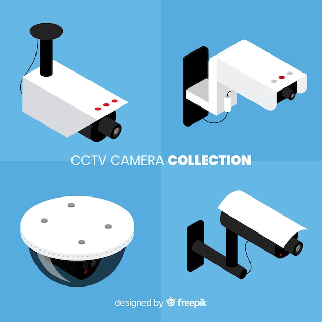 Isometric view of cctv camera collection Free Vector