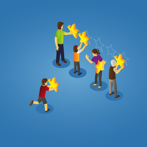 Isometric view of family giving rating Premium Vector