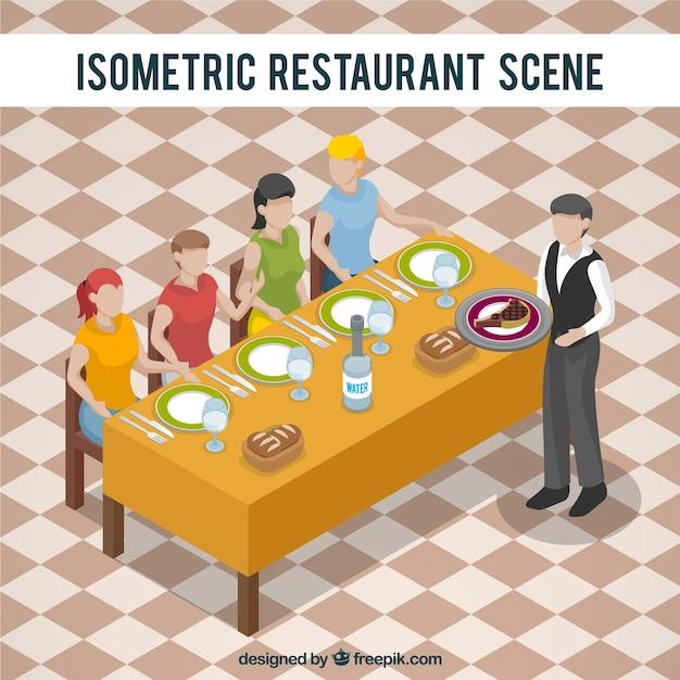 نمایش ایزومتریک برای یک صحنه رستوران
