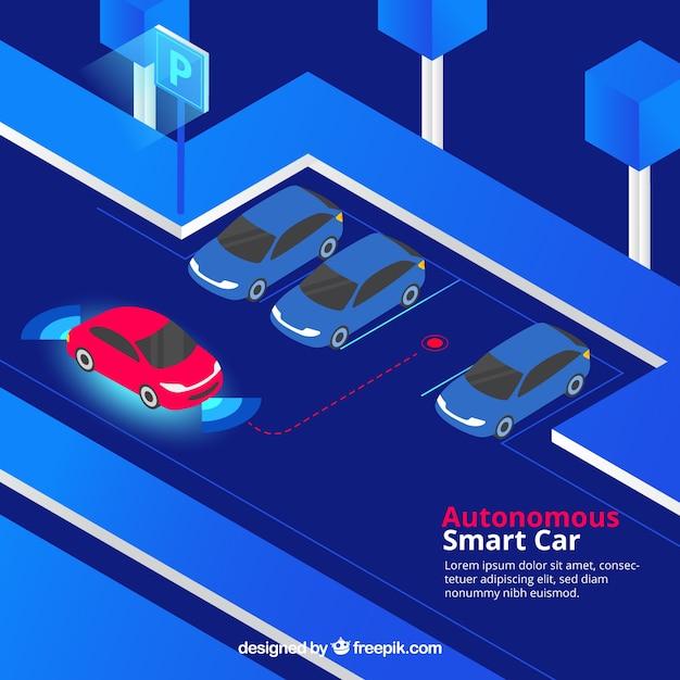 Isometric view of futuristic autonomous car Free Vector