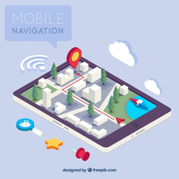 Isometric view of a mobile application for navigation Free Vector