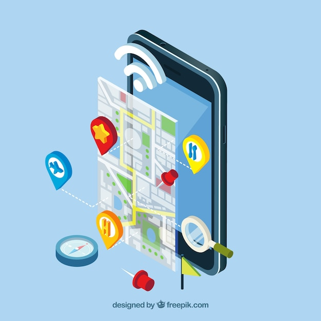 Isometric view of a mobile application with a map Vector ... on map for los angeles, map for windows, map for oklahoma city, map for help, map for honolulu, map for memphis, map for print,
