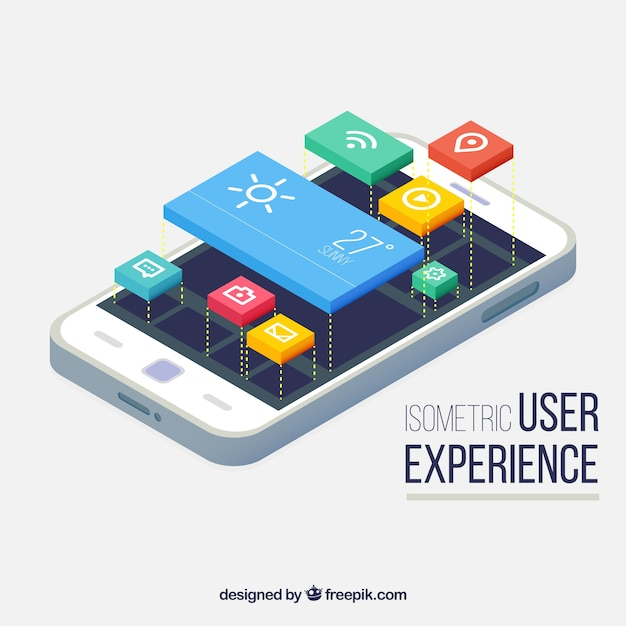 Isometric view of a mobile phone and buttons for applications Free Vector