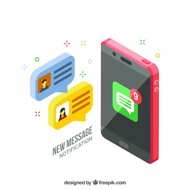 Isometric view of mobile phone with instagram post Free Vector